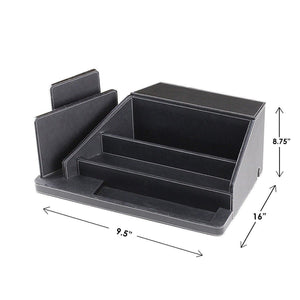 Storage organizer g u s all in one charging station valet and desktop organizer multiple finishes available for laptops tablets phone and wearable technology black leatherette