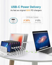 Load image into Gallery viewer, Great usb c pd charging stations unitek 160w 10 port usb quick charger dock power delivery compatible laptop macbook 2015 later pixel nintendo switch support 9 ipad upgraded adjustable dividers