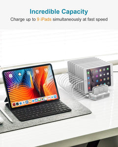 Get usb c pd charging stations unitek 160w 10 port usb quick charger dock power delivery compatible laptop macbook 2015 later pixel nintendo switch support 9 ipad upgraded adjustable dividers