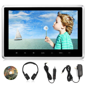 "10.1"" Car Dvd Player With Wireless Headphone + Wall Adapter + Car Charger Support Hdmi Input, 1080P Video, Sync Screen, Fm Ir, Usb Sd, Av Out & In, Last Memory - Naviskauto"