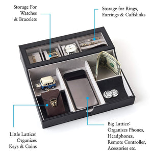 Shop here neatopa valet tray men jewelry keys watch nightstand organizer for perfect life on table valet box made of black pu leather velvet with charging station 10 compartment