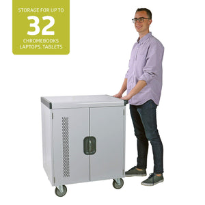Shop here pearington 32 device smart charging cart ships fully assembled classroom charging station store up to 15 6 inch tablet compatible with chromebook ipad and laptop computers secure lock
