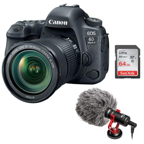 Canon EOS 6D Mark II DSLR Camera with 24-105mm f/3.5-5.6 Lens plus Boya BY-MM1 Shotgun Video Microphone and 64GB Memory Card