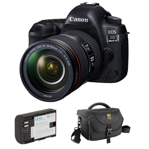 Canon EOS 5D Mark IV DSLR Camera with 24-105mm f/4L II Lens plus LP-E6 Lithium-Ion Battery Pack and Journey 34 DSLR Shoulder Bag