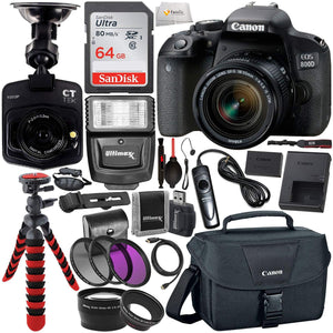 Canon EOS Rebel 800D (T7i) DSLR Camera w/ 18-55mm Lens, Free Promotional Dash Cam & Essential Accessory Bundle - Includes: SanDisk Ultra 64GB SDXC Memory Card, Slave Flash, Canon Carrying Case & More