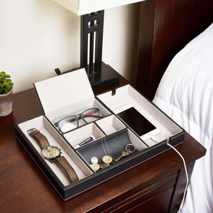 The best bedside tray organizer nightstand storage phone wallet electronics charging keys books glasses desk table dresser caddy control bedside organizers men women smartphone jewelry compartment