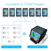 Load image into Gallery viewer, Top rated skiva standcharger 7 port 84 watts ac wall charging station with fast 2 4 amps smart usb ports for ipad pro air mini iphone x 8 8 more 7 x short apple mfi lightning cables included model ac123