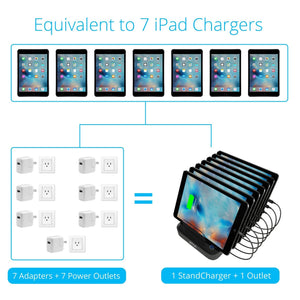 Top rated skiva standcharger 7 port 84 watts ac wall charging station with fast 2 4 amps smart usb ports for ipad pro air mini iphone x 8 8 more 7 x short apple mfi lightning cables included model ac123