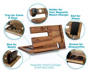 On amazon wood phone docking station walnut key holder wallet stand magnetic watch charger slot organizer men gift husband wife anniversary dad birthday nightstand tablet father graduation male travel idea