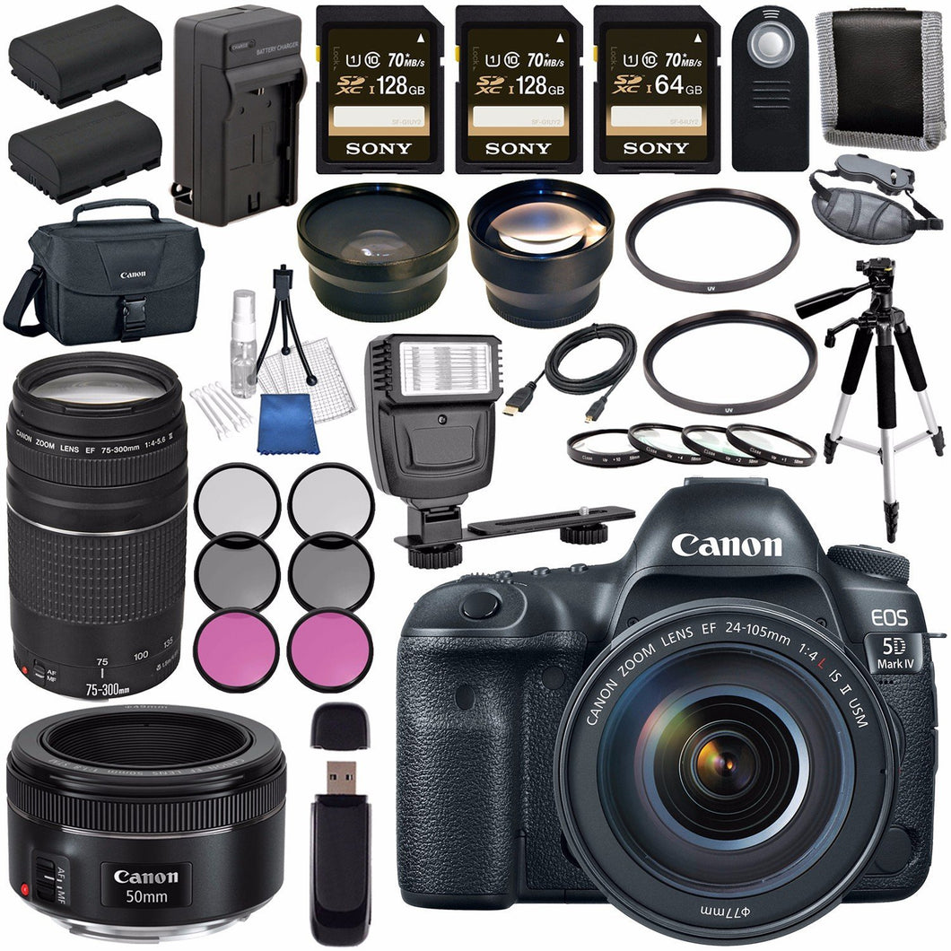 Canon EOS 5D Mark IV DSLR Camera with 24-105mm f/4L II Lens 1483C010 + Canon EF 75-300mm f/4-5.6 III Telephoto Zoom Lens + Canon EF 50mm f/1.8 STM Lens 0570C002 Bundle