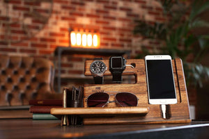 Online shopping wood phone docking station walnut key holder wallet stand magnetic watch charger slot organizer men gift husband wife anniversary dad birthday nightstand tablet father graduation male travel idea