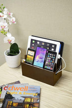 Load image into Gallery viewer, Home mobilevision wood multi device organizer stand and charging station for smartphones tablets and laptops includes 5 usb hub charger combo