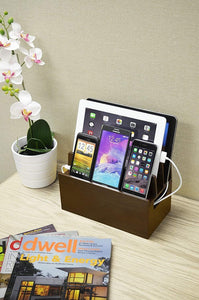 Home mobilevision wood multi device organizer stand and charging station for smartphones tablets and laptops includes 5 usb hub charger combo