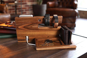 New wood phone docking station walnut key holder wallet stand magnetic watch charger slot organizer men gift husband wife anniversary dad birthday nightstand tablet father graduation male travel idea