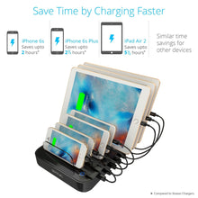 Load image into Gallery viewer, Top skiva standcharger 7 port 84 watts ac wall charging station with fast 2 4 amps smart usb ports for ipad pro air mini iphone x 8 8 more 7 x short apple mfi lightning cables included model ac123