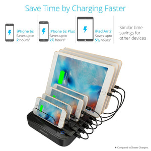 Top skiva standcharger 7 port 84 watts ac wall charging station with fast 2 4 amps smart usb ports for ipad pro air mini iphone x 8 8 more 7 x short apple mfi lightning cables included model ac123