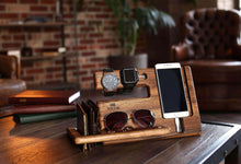 Load image into Gallery viewer, Order now wood phone docking station walnut key holder wallet stand magnetic watch charger slot organizer men gift husband wife anniversary dad birthday nightstand tablet father graduation male travel idea