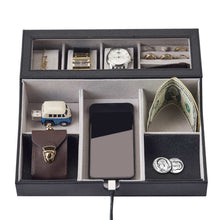Load image into Gallery viewer, Save on neatopa valet tray men jewelry keys watch nightstand organizer for perfect life on table valet box made of black pu leather velvet with charging station 10 compartment
