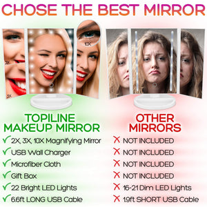 Products lighted makeup mirror with lights makeup vanity mirror with lights and magnification make up mirrors lighted magnifying portable trifold cosmetic mirror with long 6 6ft usb cable and charger
