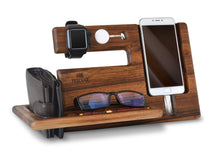 Load image into Gallery viewer, Kitchen wood phone docking station walnut key holder wallet stand magnetic watch charger slot organizer men gift husband wife anniversary dad birthday nightstand tablet father graduation male travel idea