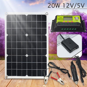20W 12V/5V Solar Panel USB Charger For Phone Lighting RV Boat +12/24V Solar Controller LCD Graphic Symbol