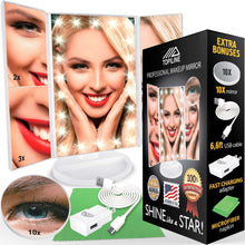 Load image into Gallery viewer, Latest lighted makeup mirror with lights makeup vanity mirror with lights and magnification make up mirrors lighted magnifying portable trifold cosmetic mirror with long 6 6ft usb cable and charger