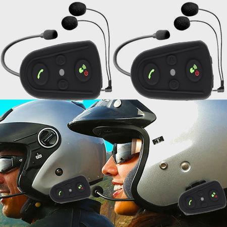 2 x Two Way Bike/Motorcycle Intercom, FM Radio, Bluetooth Helmet Headset with Microphone