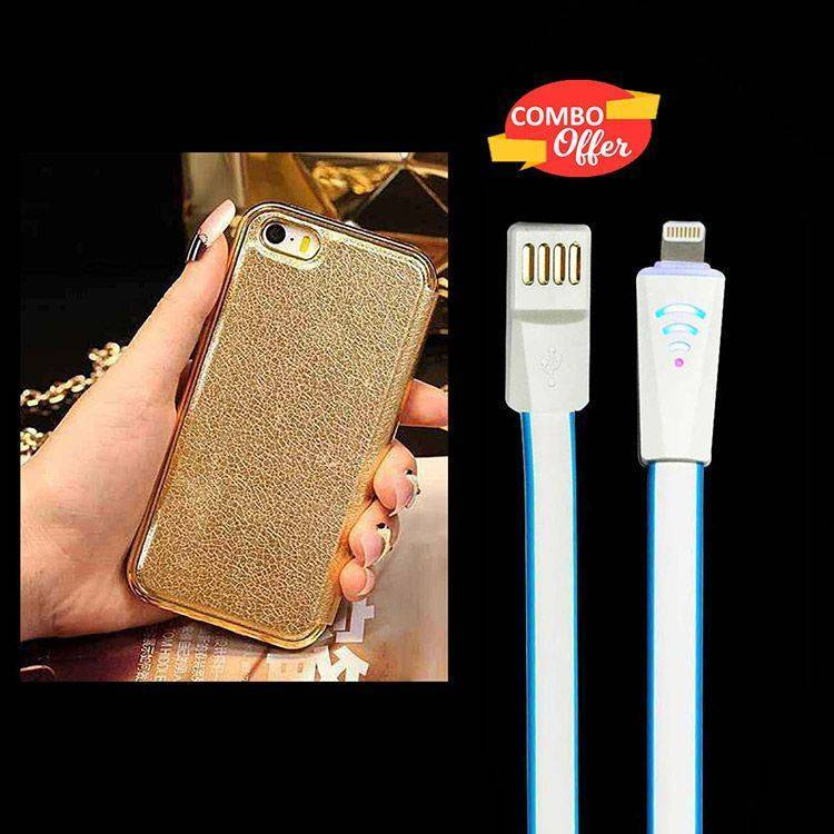Apple iPhone 5 5S Diamond Crystal Frame Flip Cover Gold And USB Lightning Data Cable White Blue