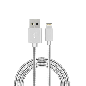 1m Flexible Metal Lightning USB iPhone Charger - Sync Fast 8Pin Charging Cable - Compatible Apple iPhone 5 / 6 / 6s / iPad / iPad Mini (Black)