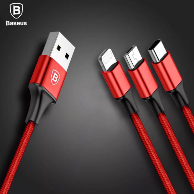 Baseus 3in1 2in1 USB Cable for iPhone X 8 7 6 Cable Micro USB Type C Cable for Samsung S9 S8 Fast Charging Cable 3A Charger Cord