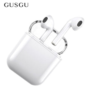 Bluetooth Earphone, GUSGU Mini Wireless Sports Earphone Stereo-Ear Earphones with Noise Canceling and Charging Case for iPhone (White)