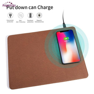 2018 Mobile Phone Qi Wireless Charger Charging Mouse Pad Mat PU Leather Mousepad for iPhone X/8 Plus Samsung S8 Plus /Note 8