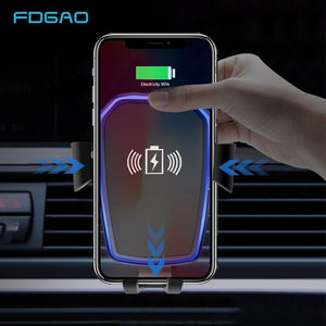 Car Wireless Charger For iPhone X 8 XS Max XR Qi Wireless Charging Pad Gravity Holder For Samsung S8 S9 Plus Note 8 9 S7 (Black)