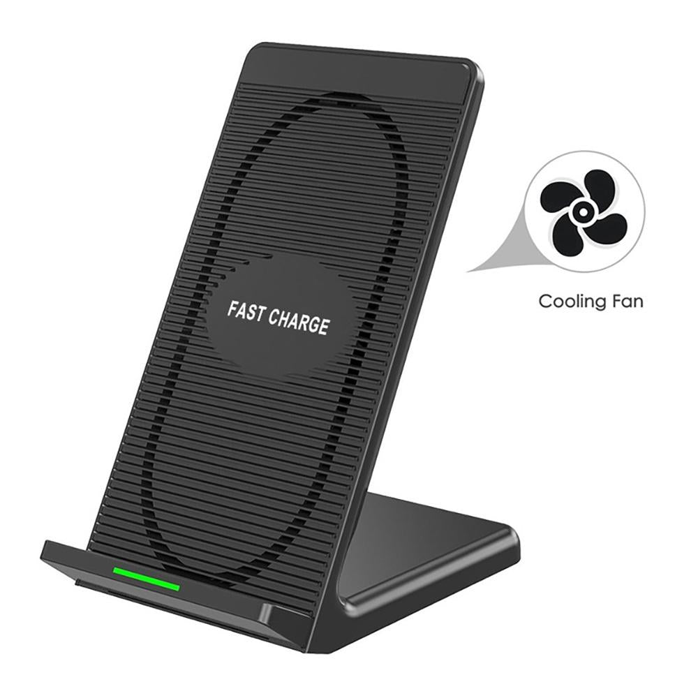 10W Fast Wireless Charger Quick Wireless Charging Stand Cooling Fan for iPhone X XS Max 8 Plus Samsung Galaxy S9 S8 Note 9 (Black)