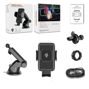 10W 2-in-1 Qi Fast Charger Wireless Car Charger Auto Clamp Car Mount Air Vent Dashboard Phone Holder for iPhone X 8 Samsung S9 8