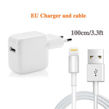 Load image into Gallery viewer, 12W 5V 2.4A USB fast charger for iphone 6s 7 8plus X Xmax XR XS ipad mini air pro quick charger 3.0ft usb cable