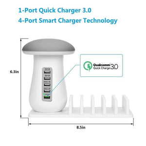 5 Port Multi USB Charger Charging Station with Quick Charge 3.0 Port for iPhone Xiaomi Samsung Mobile Phones Power Banks Tablet