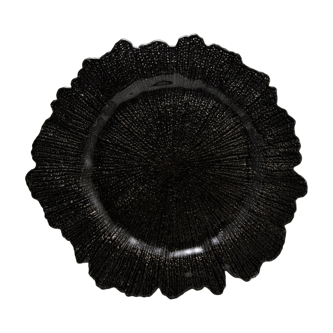 13 3/4L x 1H Sponge Black Glass Charger Plate,Case of 12