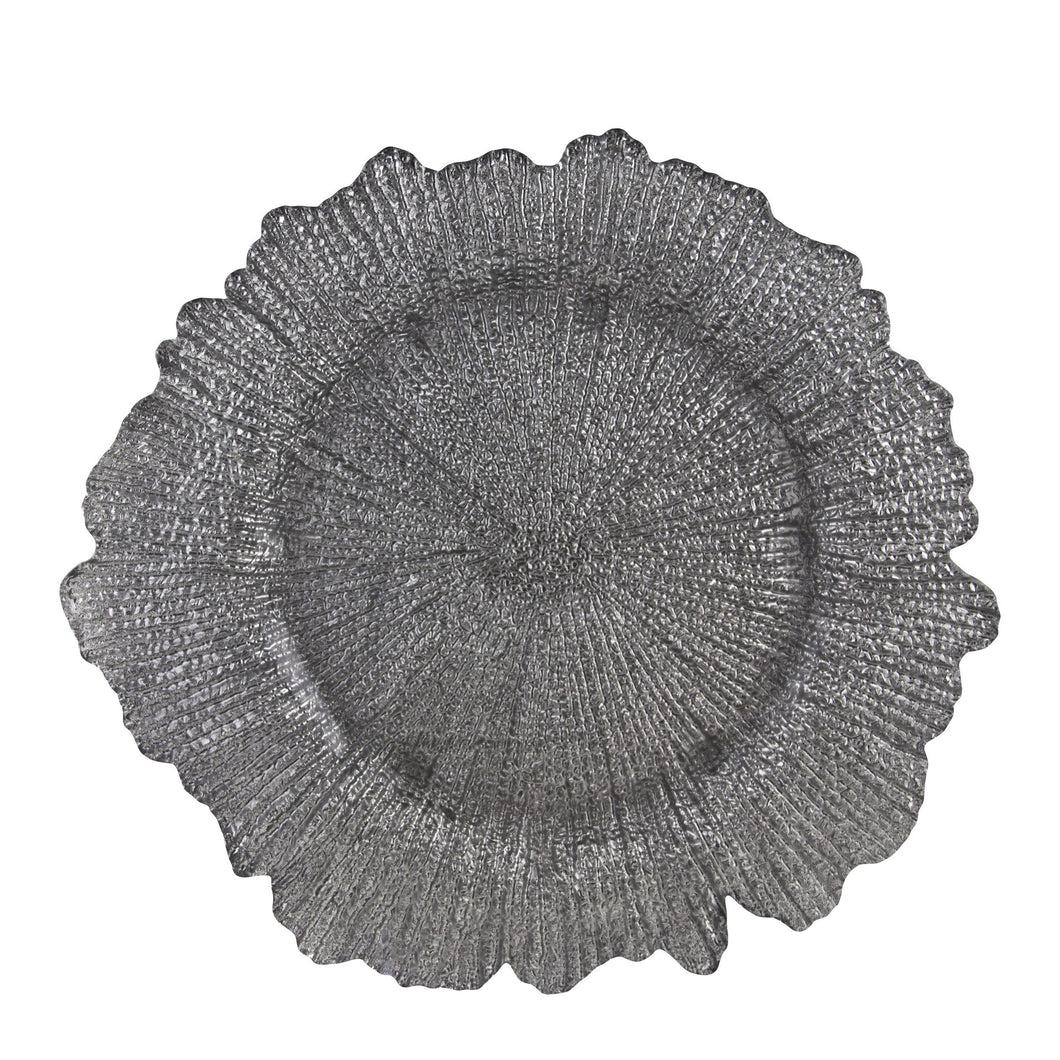 13 3/4L x 1H Sponge Silver Glass Charger Plate,Case of 12