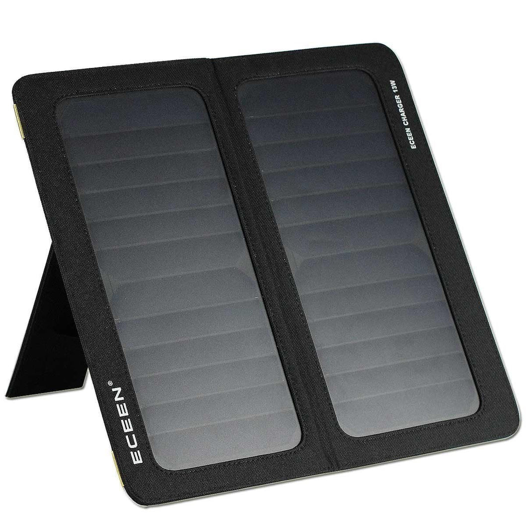13-Watt Solar Panel Portable Folding Battery Charger for iPhone Smartphones Tablets USB