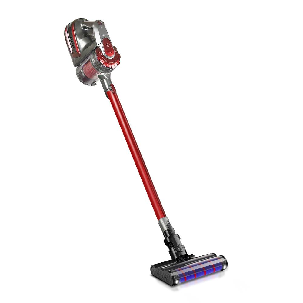 150W Stick Handstick Handheld Cordless Vacuum Cleaner 2-Speed with Headlight - Red