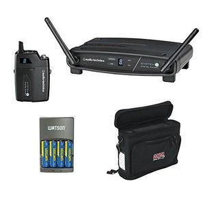 Audio-Technica ATW-1101 System 10 Digital Wireless Receiver and Pocket Transmitter with GM-1W Mobile Pack & 4-Hour Rapid Charger Kit