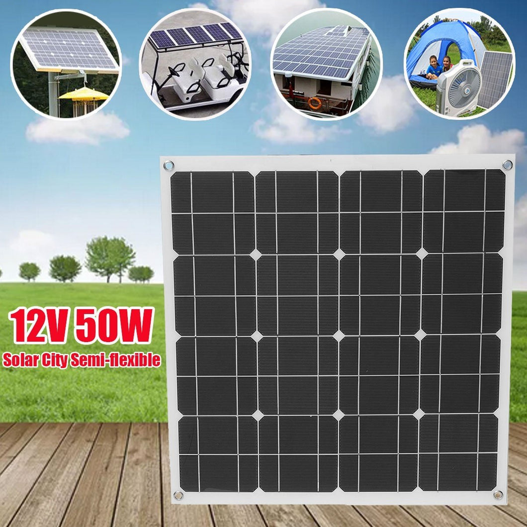 50W 12V Single Crystal Semi Flexible Cells Solar Panel Poly Solar Module Battery Charger