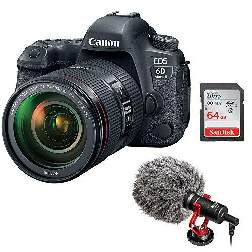 Canon EOS 6D Mark II DSLR Camera with EF 24-105mm f/4L IS II USM Lens with Boya BY-MM1 Shotgun Video Microphone and 64GB SDHC Memory Card