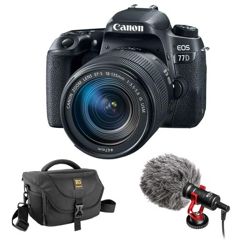 Canon EOS 77D DSLR Camera with 18-135mm USM Lens with Boya BY-MM1 Shotgun Video Microphone and Journey 34 DSLR Shoulder Bag (Black)
