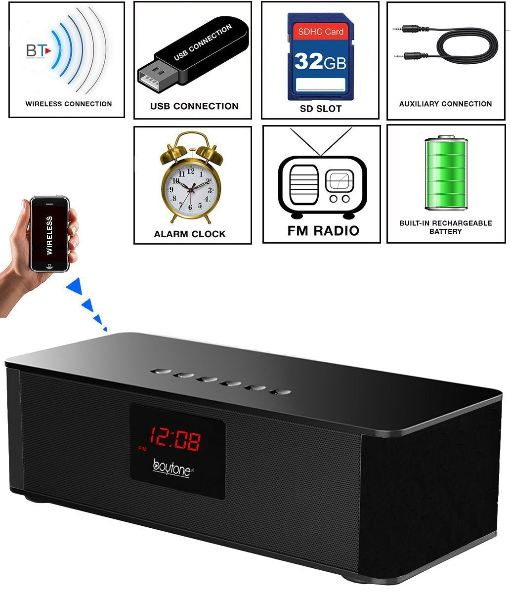Boytone Portable Wireless Bluetooth FM Radio Alarm Clock Speaker with Built–in 8 Hour Rechargeable Battery, Mic, LED Display, USB & Micro SD Slot!