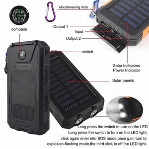 100000mAh Waterproof Outdoor Emergency Camping LED Portable Solar Charger