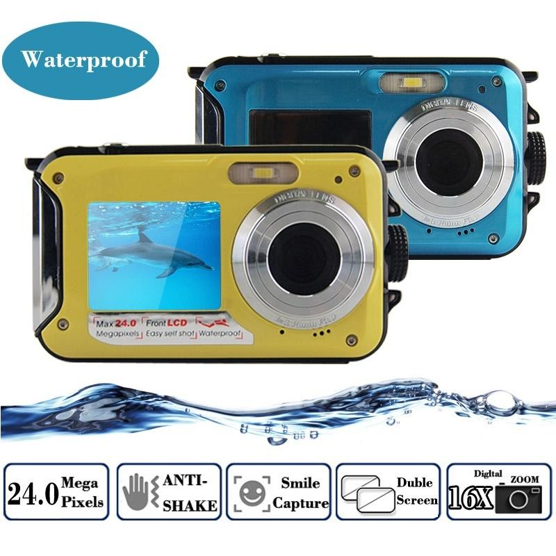 24MP Double Screens Waterproof Digital Camera 2.7 inch +1.8 inch Screens HD 1080P CMOS 16x Zoom Camcorder Mini Dive Camera EU/US