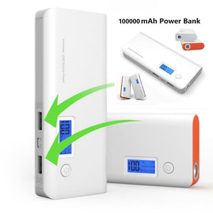 2017 New Portable Power Bank 100000mAh Double USB LCD Display External Backup Battery for iPhone mobile Phone Universal Charger