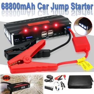 68800mAh 12V 4USB Car Jump Starter Power Bank Rechargable Battery Multi-Function